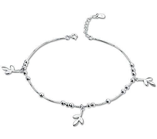 Beglie Damen Fußkettchen 925 Sterling Silber DREI Blatt Fuß Schmuck für Strand Silber Geschenk für Damen