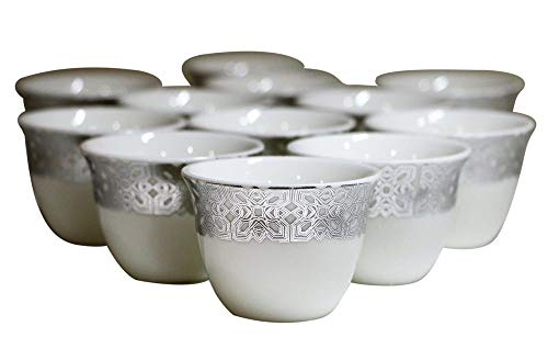Türkische Arabische Kaffeetassen Gawa 3 oz 80 cc 12er Set (Silver Arabesque) Band Demitasse Cup