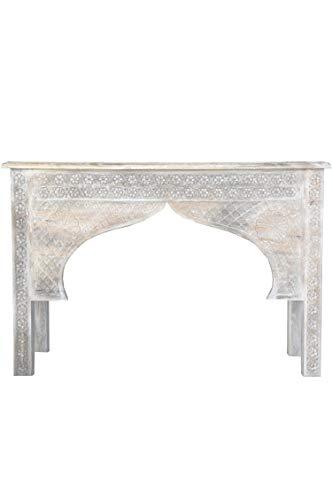 Orientalische Konsole Sideboard schmal Ishak 113cm Weiß | Orient Vintage Konsolentisch orientalisch handgeschnitzt | Landhaus Anrichte aus Holz massiv | Asiatische Deko Möbel aus Indien