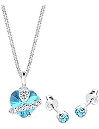 Elli Damen-Halskette + Ohrringe Herz 925 Sterling Silber Swarovski Kristall blau Brillantschliff 0902932813_45