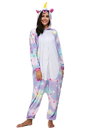 Mescara Einhorn Kostüm Pyjama Jumpsuit Cosplay Schalfanzug Festliche Anzug Flanell Tierkostüm Kartonkostüm Tierschalfanzug (XL/EU40, ()