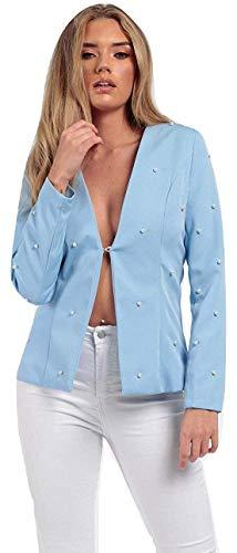 Momo&Ayat Fashions Ladies Pearl Collerless Tailored Blazer UK Size 8-16 (Baby Blue, UK 12 (EUR 40))