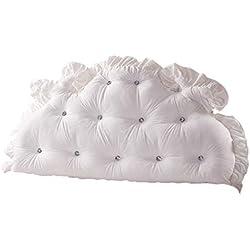 Canapé-lit lavable Grand canapé-coussin Dossier souple Fournitures de deux oreillers confort Coussin de soutien lombaire, blanc (Taille : 180cm)