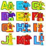 Mymiyou Alfabeto de juguete de aprendizaje educativo Robot figura regalo para los niños preescolares 26 piezas