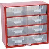 Kennedy Kleinteilemagazin Schubladenschrank aus Stahl 282x306x155 mm mit 8 Schubladen rot