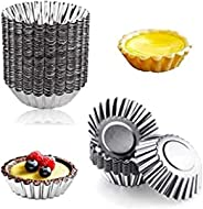 Nature Dream 20pcs Egg Tart Aluminum Cupcake Cake Cookie Mold Lined Mould Tin Baking Cups