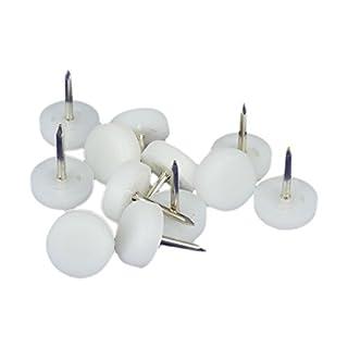 K.D.J. Brand Hochwertige Kunststoffgleiter mit Nagel, weiß, 15 mm Ø, 5 mm dick - 12 Stück