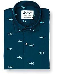 d5446191fc Brava Fabrics - Camisa Hombre Manga Corta Estampada - Camisa Azul para  Hombre - Camisa Casual