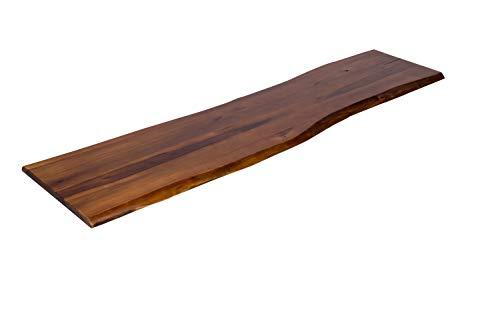 SAM Baumkanten-Platte, 180x40 cm, Akazie massiv, cognacfarben, stilvolle Holzbank, pflegeleichtes Unikat