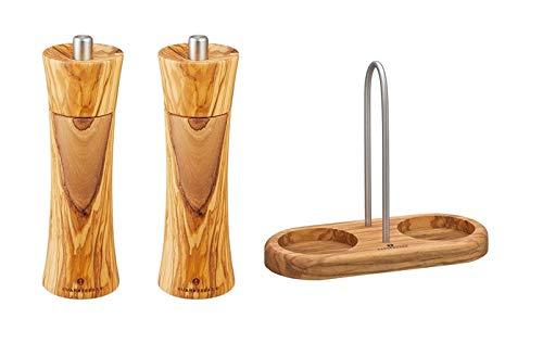 Zassenhaus Salzmühle und Pfeffermühle mit Mühlenuntersetzer mit Griff Olivenholz 022230 + 022223 + 036060