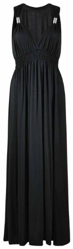 New Womens Maxi Dress Ladies Long Stretch Coil Maxi Plus Size 16 18 20 22 24 26