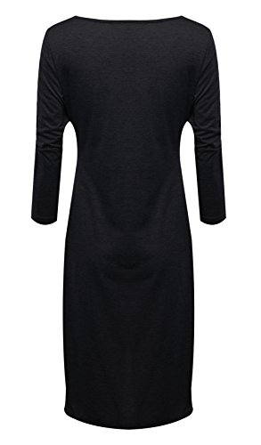Women Casual-Kreuz-Front mit V-Ausschnitt Bluse lose lange Ärmel-Cocktail kleider Schwarz