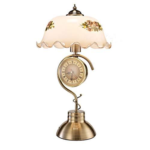 ZY * Lampada da tavolo soggiorno vintage design semplice lampada da tavolo in vetro squisita lampada da polso touch dimming orologio da ufficio lampada da scrivania studio (colore: interruttore a puls