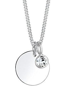 Elli Damen-Kette mit Geburtsstein Anhänger Kreis 925 Silber Rundschliff 45 cm