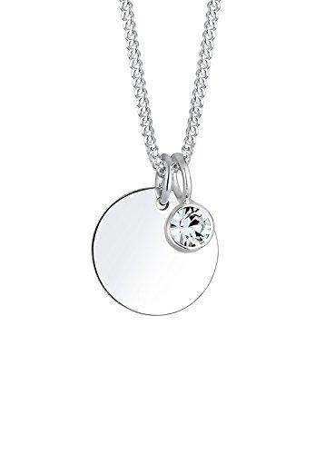 Elli Damen Echtschmuck Halskette Kette Geburtsstein April mit Swarovski Kristallen in 925 Sterling Silber 45 cm Länge