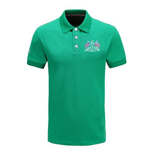 Herren Poloshirt Kurzarm Top aus Reiner Baumwolle Pique Knit Polo Shirts Atmungsaktiv Grün (XXL, Grün) -