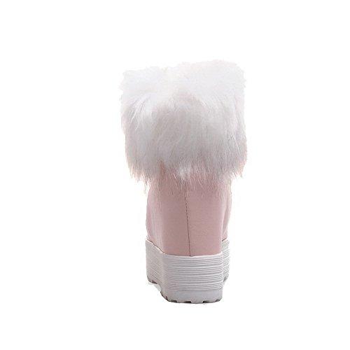 AgooLar Damen Ziehen Auf Hoher Absatz Rein Knöchel Hohe Stiefel Pink