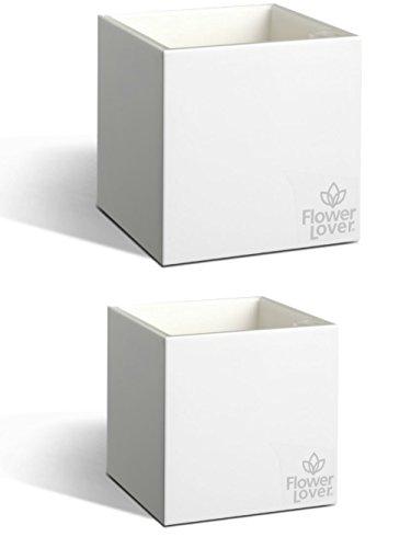 2er Pack Flower Lover Cubico Innen-Blumen Übertopf bewässernden Selbstwässernder mit Wasser Füllstandsanzeige (14x 14x 14cm)–Kristall Weiß