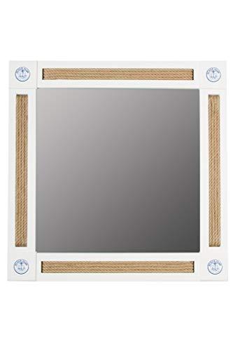 elbmöbel Wandspiegel weiß im Holzrahmen Shabby Chic Massiv Spiegel Barock Landhausstil Maritim mit Tau-Optik (Weiß, H75 x B75 x T4)