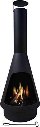 Maxx Cheminée d'extérieur Helios - Brasero Chauffage de terrasse - Noir (Ø45 x 135cm)