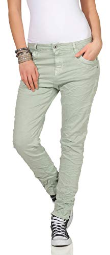 673d1a59f05f7 Karostar Chinos Vaqueros de Mujer Baggy Pantalón Boyfriend Pantalones  Cintura Baja 19 - Mint, 38