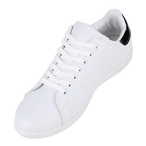 Damen Sneakers | Sneaker Low Metallic Cap | Sportschuhe Leder-Optik Glitzer | Freizeit Schnürer Prints Samt | Trainers Allyear Schwarz Schwarz Weiss