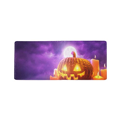 Halloween Carved Pumpkin Candle Cool Lether Business Card Coin Id Pouches Holder Travel Clutch Purse Money Clip Bifold Wallet Case for Girls Men and Women Front Pocket Checkbook -