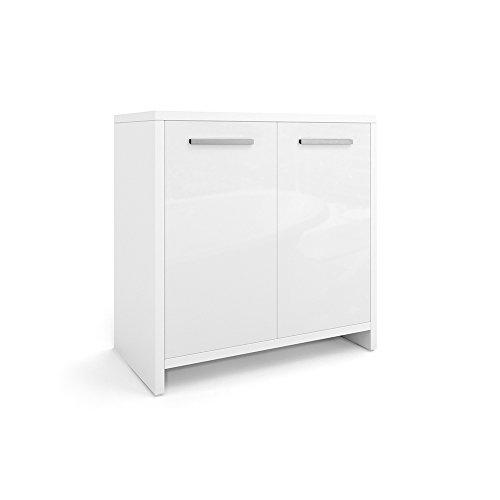 VICCO Badezimmerschrank KIKO Unterschrank Waschbeckenunterschrank Hochschrank Badmöbel Schrank Midi-Schrank Badregal (Weiß Hochglanz, Unterschrank)