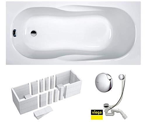 VBChome Badewanne 160 x 70 x 41 cm Acryl SET Wannenträger Siphon Wanne Rechteck Weiß Design Modern Styroporträger Ablaufgarnitur in Chrom Viega Simplex (160x70x41 cm)