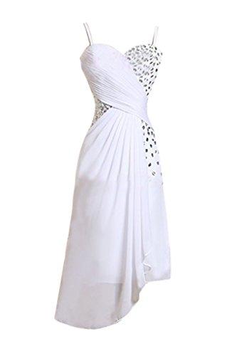 Sunvary Suess Traeger Herzform Chiffon Steine Cocktailkleid Kurz Abendmode Weiß