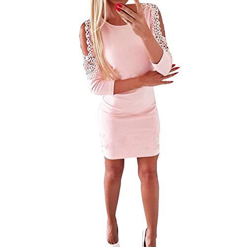 Bodycon Kleid,Innerternet Damen Elegantes Langarm Bleistiftkleid Partykleid Figurbetontes Kleid MiniKleid mit Spitze Perle