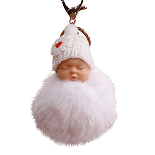 (Gaddrt Schlüsselkette Niedlichen Pelz Flauschigen Pompom schlafen Baby Doll Schlüsselanhänger Schlüsselanhänger Taschen Charm Anhänger 8cm (Weiß))
