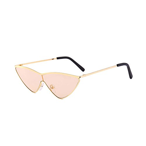 SUNGLASSES Europäische und amerikanische Neue Sonnenbrille Flut Dreieck Katze Brille Sonnenbrille Männer und Frauen (Farbe : Champagner)