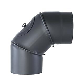 Kamino Flam Uni-Knie gussgrau mit Tür, verstellbarer Winkel von 90° - 180°, Abgasrohr aus Stahl mit hitzebeständiger Senotherm Beschichtung, geprüft nach Norm EN 1856-2, Durchmesser: ca. 150 mm