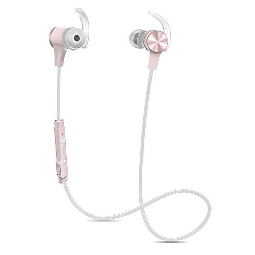 TaoTronics Bluetooth Kopfhörer 4.1 In Ear Ohrhörer Stereo mit Mikrofon, magnetische Headset AptX IPX5 Wasserschutz für iPhone 6 6S 6 Plus 6S Plus 5S 5 5C 4S 4, Galaxy S6 S6 Edge S5 S4 Mini Rosa