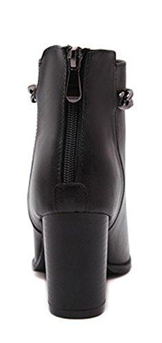 De Couro Liso Bloco Boots Senhoras Correntes Metal Salto Ponta Preto Aisun De Moda Ankle Zq65w7