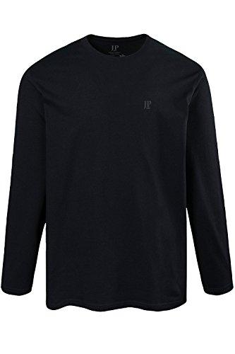 JP 1880 Herren große Größen bis 8XL, Langarmshirt, Sweatshirt mit Logo-Stickerei, Basic, Rundhals, Regular Fit, Baumwolle schwarz 7XL 702559 10-7XL
