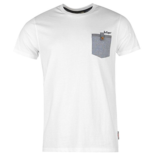 lee-cooper-homme-chambray-poche-t-shirt-col-rond-tee-top-haut-manche-courte-homme-blanc-l