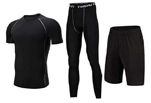 VITryst Herren Trainingsanzug, Stretch, schnelltrocknend, atmungsaktiv, 3-teiliges Set Gr. US Large, 6 Velours-activewear-set