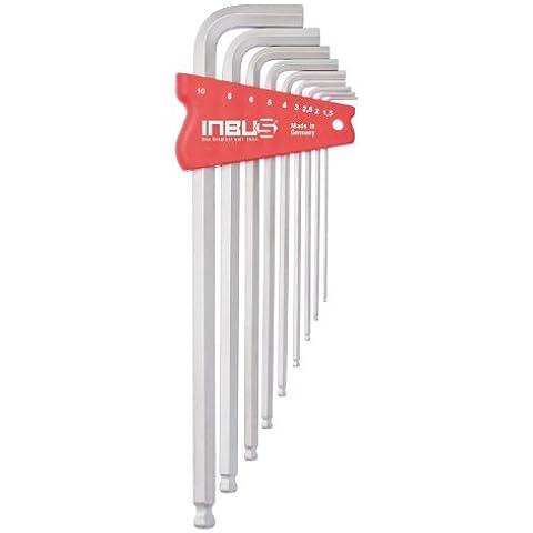 INBUS® 70204 Set de llaves Inbus / juego cromado con cabezal esférico métrico 9 piezas. 1,5-10mm | Made in Germany | llaves de hexágono interior | llaves Allen acodadas | llave de 1,5mm | 2mm | 2,5mm | 3mm | 5mm | 4mm | 6mm | 8mm | 10mm