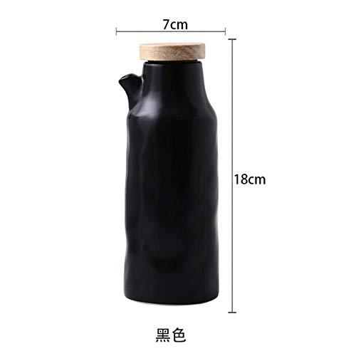 FTFSY 400ML Ceramic Oil Bottle Leak-Proof Kitchen Vinegar Oil Olive Dispenser Bottle Japanese-Style Seasoning Oil Pot Gravy Boats Tool,Black China Sauce Boot