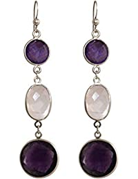 7ba00c4cf01f GEMSHINE Ohrringe mit lila Amethysten und Rosenquarz Edelsteinen. 7 cm  Ohrhänger aus 925 Silber, hochwertig vergoldet oder rose. Made in…