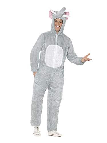 Smiffys Unisex Elefanten Kostüm, Jumpsuit mit Kapuze, Größe: L, 31686