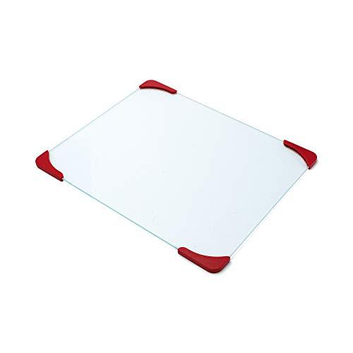 Farberware 12-by-15-Inch Glass Utility Cutting Board with Non-Slip Red Corners - Farberware 12