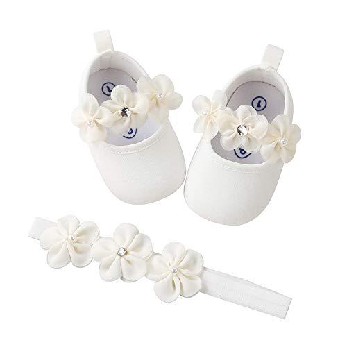 Jimmackey 2 Pezzi Neonata Scarpe + Fascia, Bambino Fiore Scarpe Anti Scivolo Morbido Occasioni Speciali Battesimo per la Festa Nuziale Scarpe