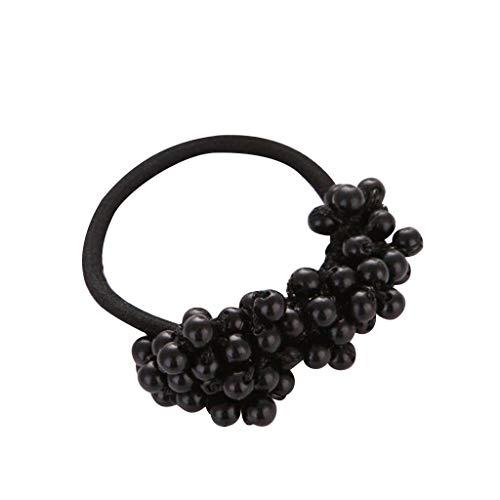 Maschine Schwarz Katalog (PPWOMEN Haarschmuck - Damen Haarschmuck Perle Perlen Kopf Seil Retro Pferd elastisches Gummiseil (Schwarz, Eine Größe))