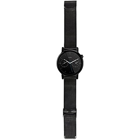 WayIn® Enlace venda de la correa del reloj del acero 16MM Señora inoxidable con cierre desplegable duradero para Motorola Moto 360 (2ª generación) de reloj inteligente Moto 360 venda de reloj (Negro)