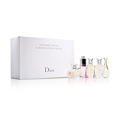 CHRISTIAN DIOR LES PARFUMS DE L'AVENUE MONTAIGNE 5 x FRAGRANCE MINIATURE COLLECTABLES, MISS DIOR EDP, JADORE EDP, DIOR ADDICT EAU FRAICHE, DIORISSIMO EDT, FOREVER AND EVER DIOR EDT.