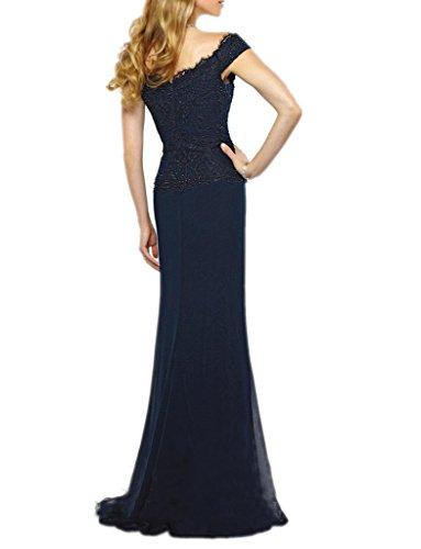 Royaldress Elegant Dunkel Blau Kurzarm V-ausschnitt Spitze Chiffon Abendkleider Brautmutter Promkleider Partykleider Lang Rot