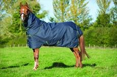 Horseware Amigo Pony Bravo 12 Plus Medio Cavallo, 250 g, Navy with Navy & Green, 152 cm - Rambo Affluenza Coperta